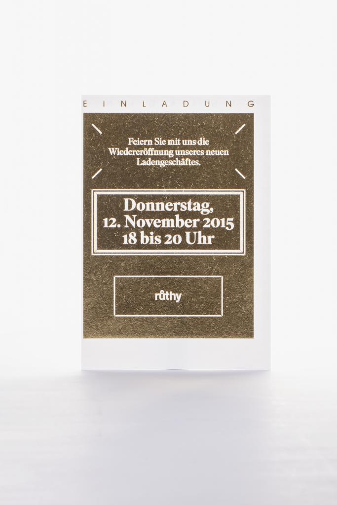 Tanner Druck AG, Einladung ruethy Goldschmiede mit Folienprägung