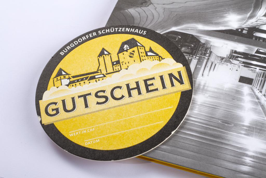 Tanner Druck AG, Gutschein mit Push Mechanik Burgdorfer Schützenhaus
