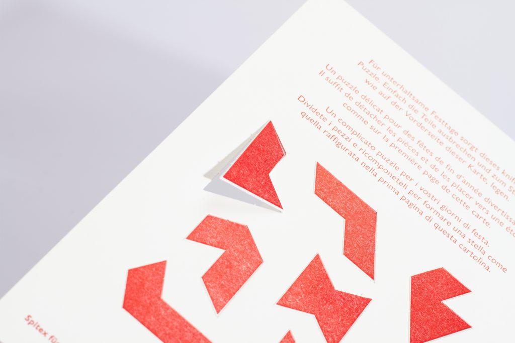 Weihnachtskarte mit ausbrechbarem Rätsel, Senevita und Spitex