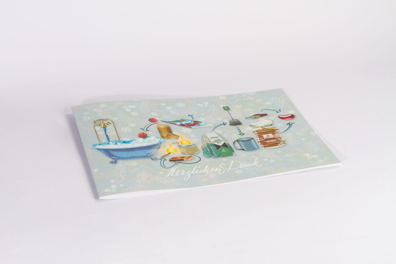 Illustration der Weihnachtskarte Kalaidos Fachhochschule