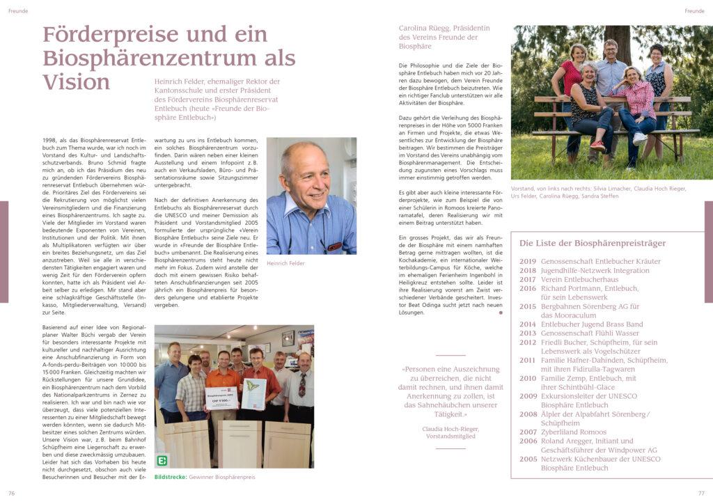 Inhaltsseite Mein Entlebuch Jubiläumsmagazin